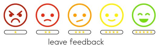 Leave feedback. Vote scale with color smileys buttons and stars. royalty free illustration