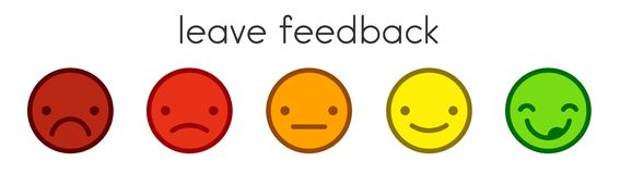 Leave feedback. Voting scale with color smileys buttons. royalty free illustration