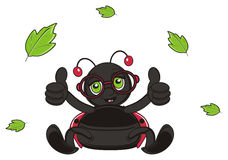 Leave fly around of ladybug. Happy ladybug in glasses show gesture class and gree leaves fly aroung her Stock Image