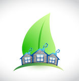 Leave and houses illustration design Royalty Free Stock Photo