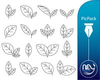 Leave icon images - icon set package. Vector image with just a simple line Stock Photo