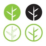 Leave logo design set vector.Nature logo in circle Stock Photography