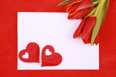 Leave a message. Leave a romantic message - paper tulip and red heart stock image