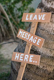 Leave message here wood lebel in garden Stock Photos