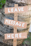 Leave Message Here Wood Lebel In Garden Royalty Free Stock Photos
