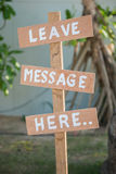 Leave message here wood lebel Royalty Free Stock Photo