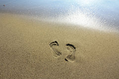 Leave Nothing But Footprints. Point Dume Beach, California, USA. Lone footprints before the ocean washes them away to nothing Royalty Free Stock Photography