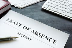 Free Leave Of Absence Request On The Table Stock Image - 158621001