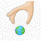 Leave the world. Illustration of a hand that leaves the world Royalty Free Stock Photos