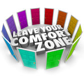 Leave Your Comfort Zone Doors New Opportunities. Leave Your Comfort Zone 3d words surrounded by many colored doors illustrating paths to new opportunities to royalty free illustration