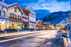 Leavenworth, Ουάσιγκτον, ΗΠΑ 02/14/16: όμορφο leavenworth με Στοκ Φωτογραφίες