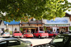 Leavenworth building / Autumn Leaf Festival. Leavenworth building in Autumn Leaf Festival. The front of a store. Nice picture on the white wall. Nice street view Stock Photos