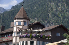 Leavenworth German town. Leavenworth is famous for it's German style village architecture. The town center of Leavenworth is a popular tourist destination in Stock Image