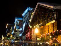 Christmas light up in Leavenworth, WA. Leavenworth, WA - December 27, 2015: Christmas light in Leavenworth Bavarian-styled village Stock Photos