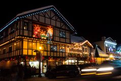 Christmas light up in Leavenworth, WA. Leavenworth, WA - December 27, 2015: Christmas light in Leavenworth Bavarian-styled village Stock Photography