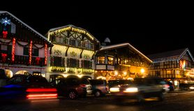 Christmas light up in Leavenworth, WA. Leavenworth, WA - December 27, 2015: Christmas light in Leavenworth Bavarian-styled village Royalty Free Stock Photography