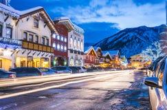 Leavenworth,Washington,usa.-02/14/16: beautiful leavenworth with. Lighting decoration in winter stock photos