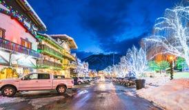 Leavenworth,Washington,usa.-02/14/16: beautiful leavenworth with. Lighting decoration in winter stock images