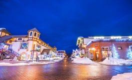 Leavenworth,Washington,usa.-02/14/16: beautiful leavenworth with. Lighting decoration in winter stock photo