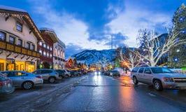 Leavenworth,Washington,usa.-02/14/16: beautiful leavenworth with. Lighting decoration in winter stock image
