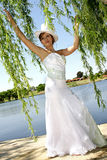 Between Leaves. A bride standing between tree branches in her dress Stock Photos