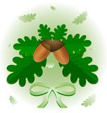 Leaves and acorns. On an abstract background of green leaves of oak and two acorn stock illustration