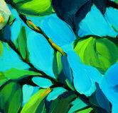 Leaves against the blue sky, painting by oil on canvas, illustra Royalty Free Stock Photo