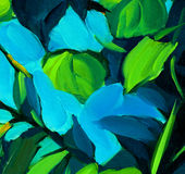 Leaves against the blue sky, painting by oil on canvas Stock Photo