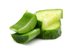 Leaves of aloe Vera and slices of cucumber close-up. Stock Photo