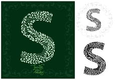 Leaves alphabet, Letter S Royalty Free Stock Photography