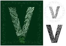 Leaves alphabet, Letter V Royalty Free Stock Photography