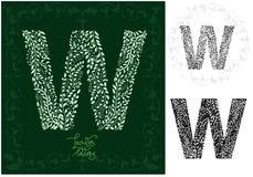 Leaves alphabet, Letter W Stock Images
