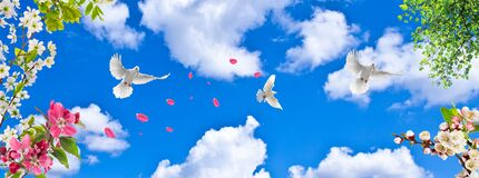 Free Leaves And Doves Flying From Spring Flowers Royalty Free Stock Photo - 190201245