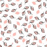 Leaves and Apples Seamless Pattern. Pastel peach color and black. Hand Drawn backdrop for wallpaper, textile, invitations, wedding, wrapping papers, etc Vector Illustration