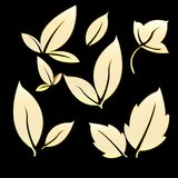 Gold Leafs for Simple Logo. Leaves as a symbol of plant fertility, prosperity, freshness and often used as a logo in business and enterprise Royalty Free Stock Image