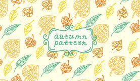 Leaves autumn pattern. In retro style. It contains Stock Photos
