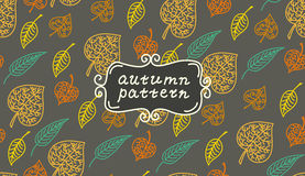 Leaves autumn pattern. In retro style. It contains Royalty Free Stock Photos
