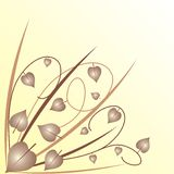 Leaves background. Yellow background with leaves and grass Royalty Free Illustration