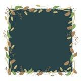 Leaves beautiful red berries branches square dark blue green dark season autumn foliage vegetation village garden vintage ogenic K vector illustration
