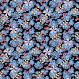 Leaves Berries and Flowers Abstract Raster Seamless Background. stock photo
