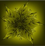 Leaves and berries in yellow tones,. Art Stock Illustration