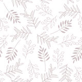 Leaves and berry, seamless brown pattern Royalty Free Stock Photo