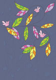 Leaves Bird Swirl Card_eps Stock Images