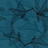Leaves black contours on dark cobalt navy royal blue background. floral seamless pattern, hand-drawn. Background for your site or. Blog. Vector illustration Royalty Free Stock Photos