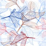 Leaves black contours dark cobalt navy royal blue burgundy brown contour isolated on white endless background. floral seamless pat. Tern, hand-drawn. Background Stock Photos