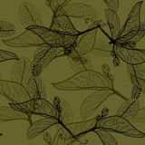 Leaves black contours on dark olive dark khaki green background.. Leaves black contours on dark olive dark khaki green background. floral seamless pattern Royalty Free Stock Photo