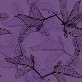 Leaves black contours on dark purple violet background. floral seamless pattern, hand-drawn. Background for your site or blog. Vec Stock Photography