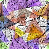 Leaves black contours, Rainbow bright magenta pink orange blue lilac purple modern trendy background. floral seamless pattern, han. D-drawn. Geometric abstract Stock Image