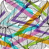 Leaves black contours, Rainbow bright magenta pink orange blue lilac purple modern trendy background. floral seamless pattern, han. D-drawn. Geometric abstract Stock Images