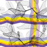 Leaves black contours, Rainbow bright yellow orange lilac purple modern trendy background. floral seamless pattern, hand-drawn. Ge. Ometric abstract background Stock Photography